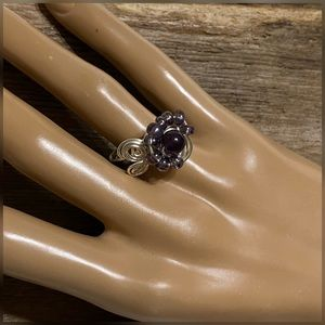 Amethyst Silver Wire Wrapped Ring